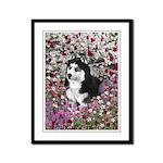 Irie Siberian Husky Flowers Framed Panel Print