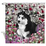 Irie Siberian Husky Flowers Shower Curtain