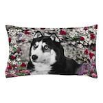 Irie Siberian Husky Flowers Pillow Case