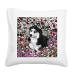 Irie Siberian Husky Flowers Square Canvas Pillow