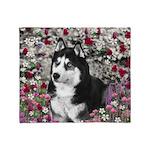 Irie Siberian Husky Flowers Throw Blanket