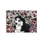 Irie Siberian Husky Flowers 5'x7'Area Rug