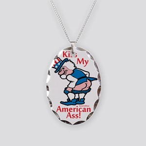 Kiss My American Ass Necklace Oval Charm