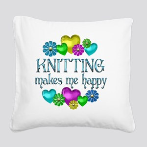 KNITTING Square Canvas Pillow