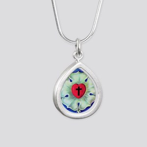 Luther Seal License Plat Silver Teardrop Necklace