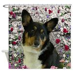 Sebastian Welsh Corgi Flowers Shower Curtain