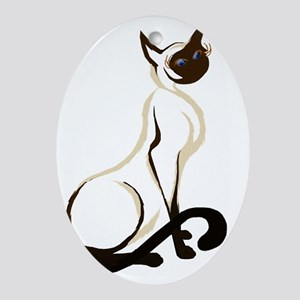 Sitting Siamese Kitty  worked over 2 Oval Ornament