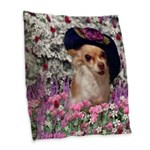 Chi Chi Chihuahua Flowers Burlap Throw Pillow