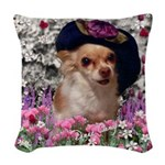Chi Chi Chihuahua Flowers Woven Throw Pillow
