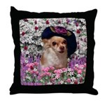 Chi Chi Chihuahua Flowers Throw Pillow