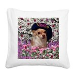 Chi Chi Chihuahua Flowers Square Canvas Pillow