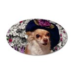 Chi Chi Chihuahua Flowers 20x12 Oval Wall Decal
