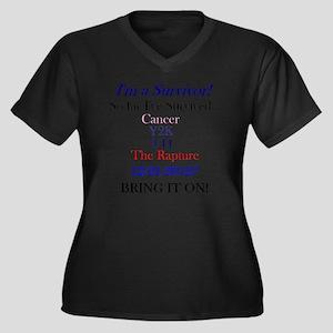 survivorcanc Women's Plus Size Dark V-Neck T-Shirt