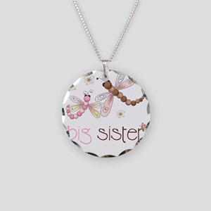 big sister drgonfly 2 Necklace Circle Charm