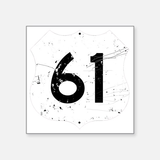 "Route 61 Sign Distressed Square Sticker 3"" x 3"""