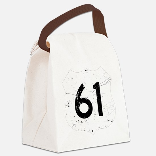 Route 61 Sign Distressed Canvas Lunch Bag