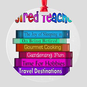 Retired Teacher Book Stack 2011 Round Ornament