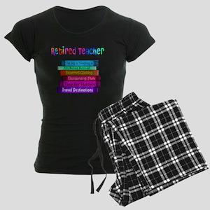Retired Teacher Book Stack 2 Women's Dark Pajamas
