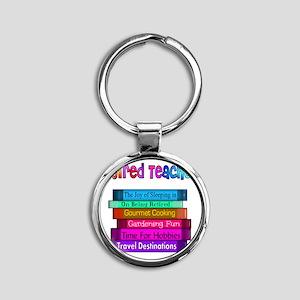 Retired Teacher Book Stack 2011 Round Keychain