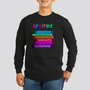Retired BOOK STACK Long Sleeve Dark T-Shirt