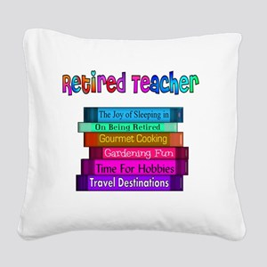 Retired Teacher Book Stack 20 Square Canvas Pillow