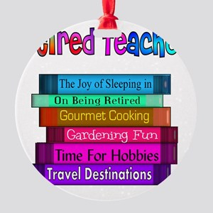 Retired Teacher Book Stack 2011 Round Ornament