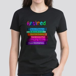 Retired BOOK STACK Women's Dark T-Shirt