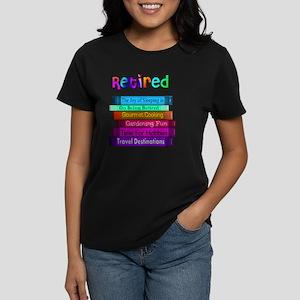 Retired BOOK STACK Women's Dark T-Shirt
