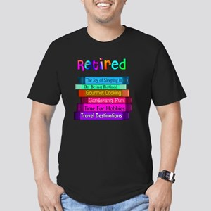 Retired BOOK STACK Men's Fitted T-Shirt (dark)