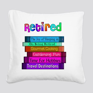 Retired BOOK STACK Square Canvas Pillow