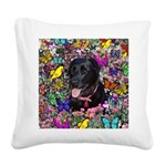 Abby Black Lab Butterflies Square Canvas Pillow