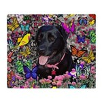 Abby Black Lab Butterflies Throw Blanket