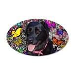 Abby Black Lab Butterflies 35x21 Oval Wall Decal