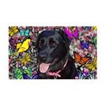 Abby Black Lab Butterflies 35x21 Wall Decal