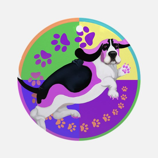Basset Hound Graphic for T Round Ornament