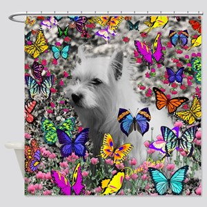 Violet White Westie Butterflies Shower Curtain
