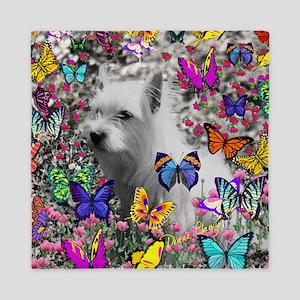 Violet White Westie Butterflies Queen Duvet