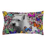 Violet White Westie Butterflies Pillow Case
