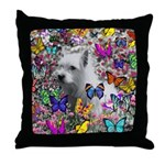 Violet White Westie Butterflies Throw Pillow