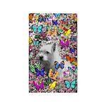 Violet White Westie Butterflies 3'x5' Area Rug