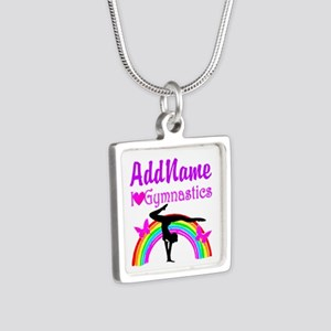 TALENTED GYMNAST Silver Square Necklace