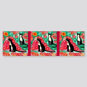 cats and roses mug design for caf Sticker (Bumper)