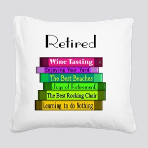 Retired book Stack 2 Square Canvas Pillow