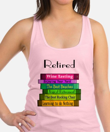Retired book Stack 2 Racerback Tank Top
