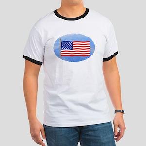 July 4 T-Shirts, US, American Flag Ringer T