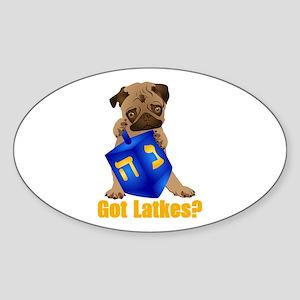Got Latkes? Pug with Dreidel Sticker (Oval)