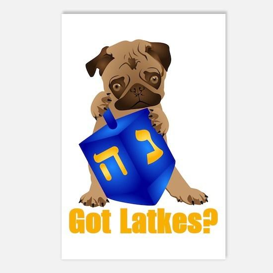 Got Latkes? Pug with Dreidel Postcards (Package of
