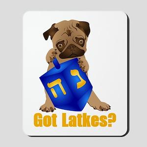 Got Latkes? Pug with Dreidel Mousepad