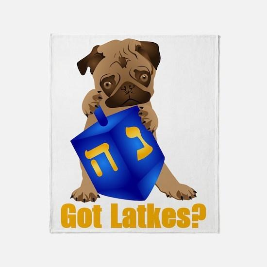 Got Latkes? Pug with Dreidel Throw Blanket