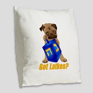 Got Latkes? Pug with Dreidel Burlap Throw Pillow